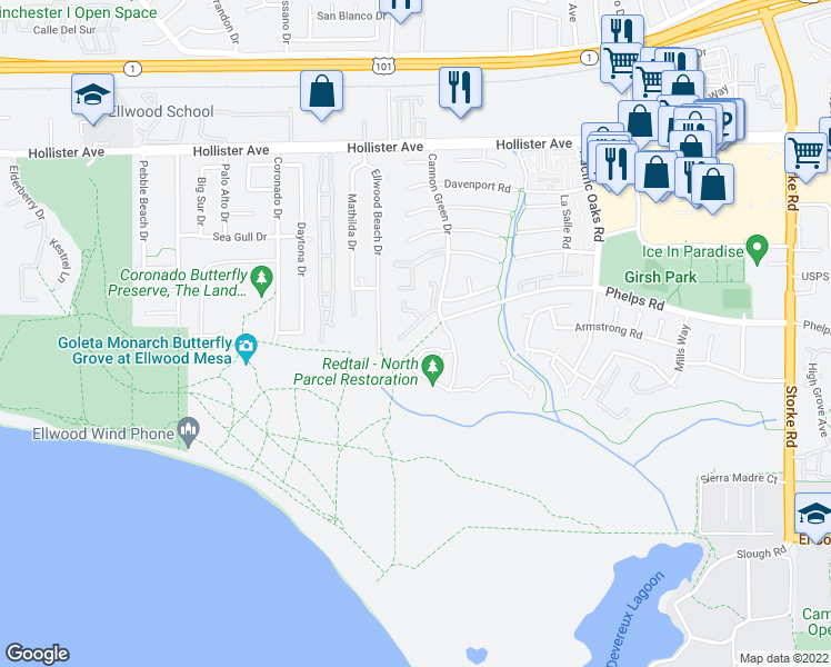 map of restaurants, bars, coffee shops, grocery stores, and more near 487 Cannon Green Drive in Goleta