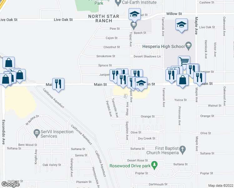 map of restaurants, bars, coffee shops, grocery stores, and more near 14008 Tourmaline Street in Hesperia