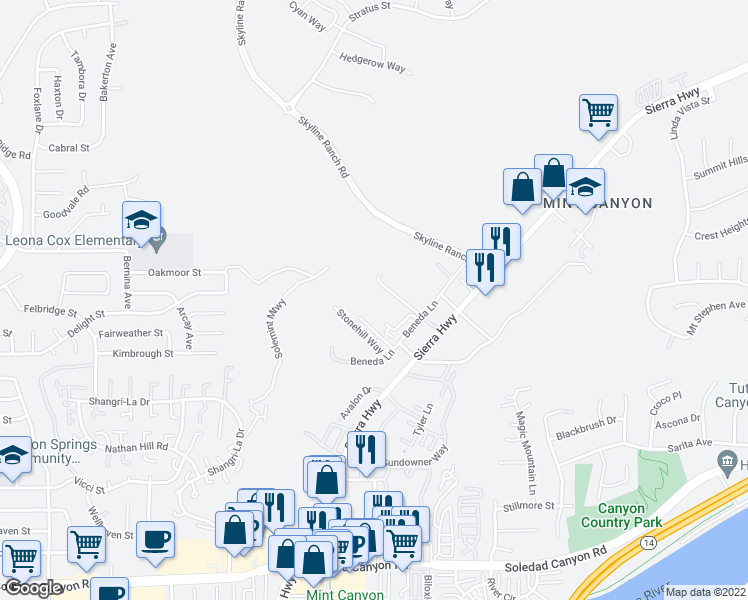 map of restaurants, bars, coffee shops, grocery stores, and more near 28032 Catherine Drive in Santa Clarita