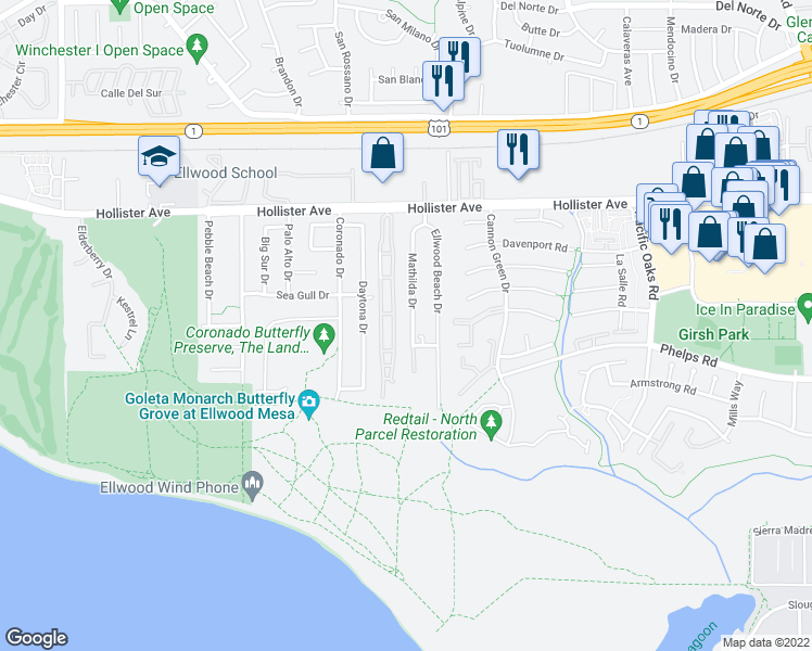 map of restaurants, bars, coffee shops, grocery stores, and more near 345 Mathilda Drive in Goleta