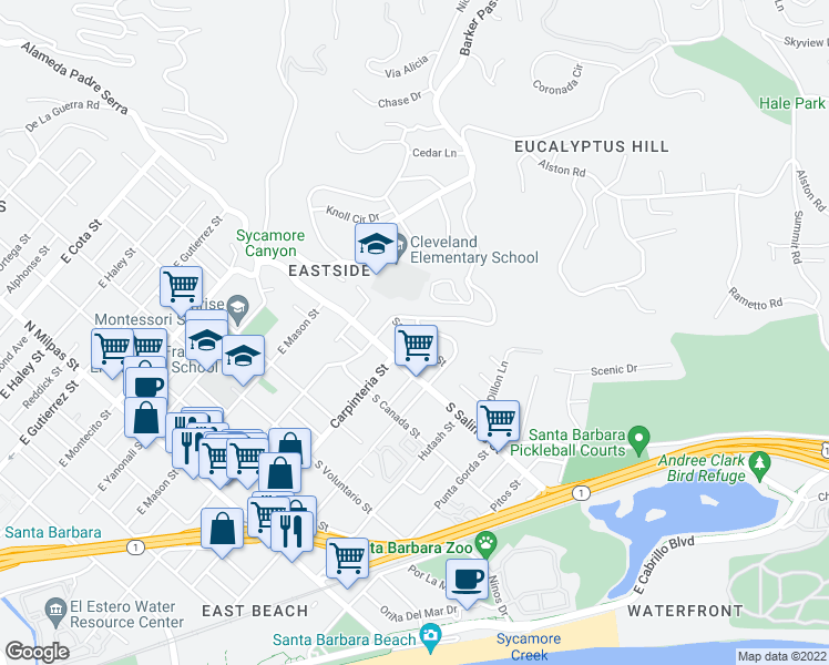 map of restaurants, bars, coffee shops, grocery stores, and more near 43 Santa Ynez Street in Santa Barbara