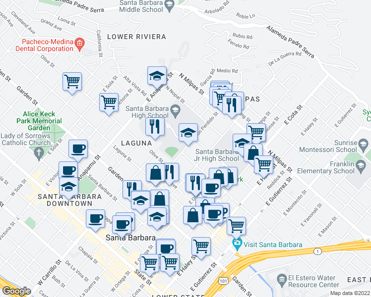 map of restaurants, bars, coffee shops, grocery stores, and more near 522 East Canon Perdido Street in Santa Barbara