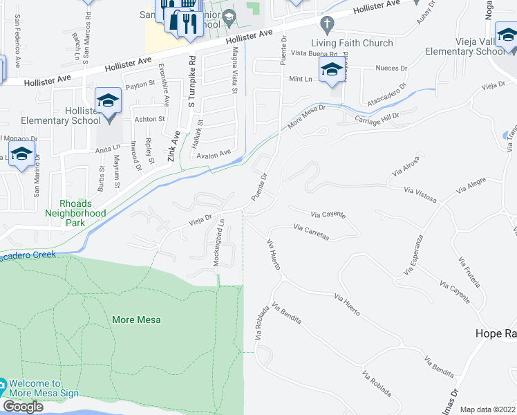 map of restaurants, bars, coffee shops, grocery stores, and more near 850 Puente Drive in Santa Barbara