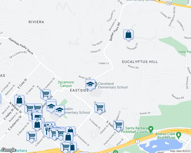 map of restaurants, bars, coffee shops, grocery stores, and more near 1585 Overlook Lane in Santa Barbara