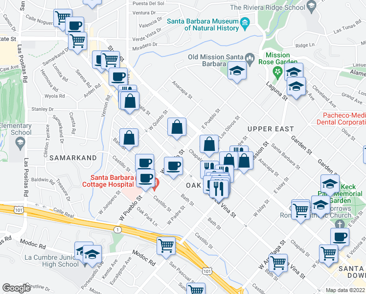 map of restaurants, bars, coffee shops, grocery stores, and more near 2301 Chapala Street in Santa Barbara