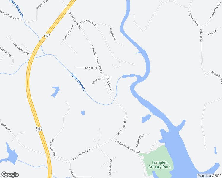 map of restaurants, bars, coffee shops, grocery stores, and more near 160 Riverside Drive in Dahlonega