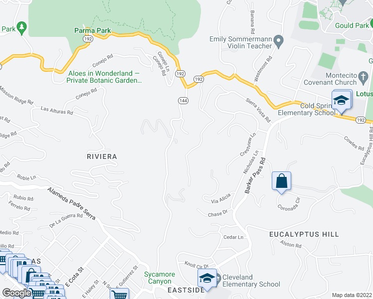 map of restaurants, bars, coffee shops, grocery stores, and more near 195 Canon View Road in Montecito
