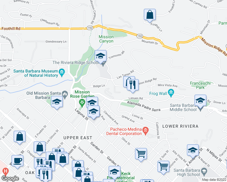 map of restaurants, bars, coffee shops, grocery stores, and more near 2051 Paseo Almeria in Santa Barbara