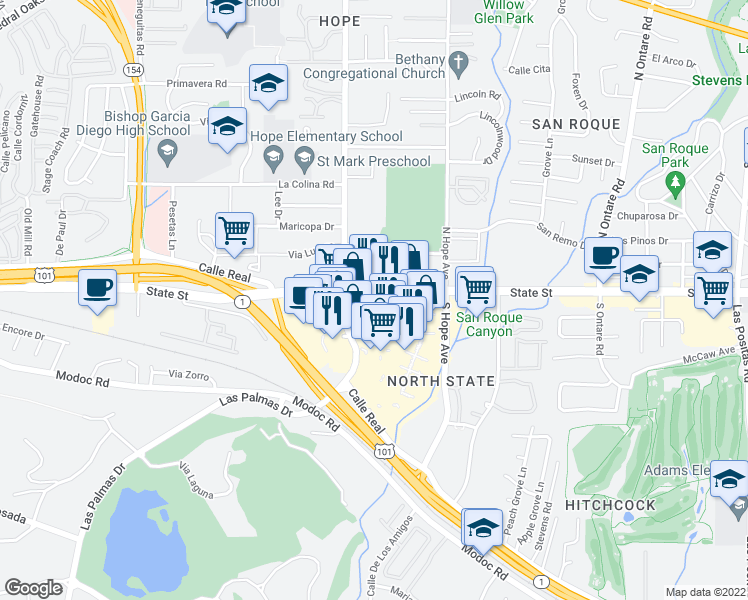 map of restaurants, bars, coffee shops, grocery stores, and more near 3885 State Street in Santa Barbara