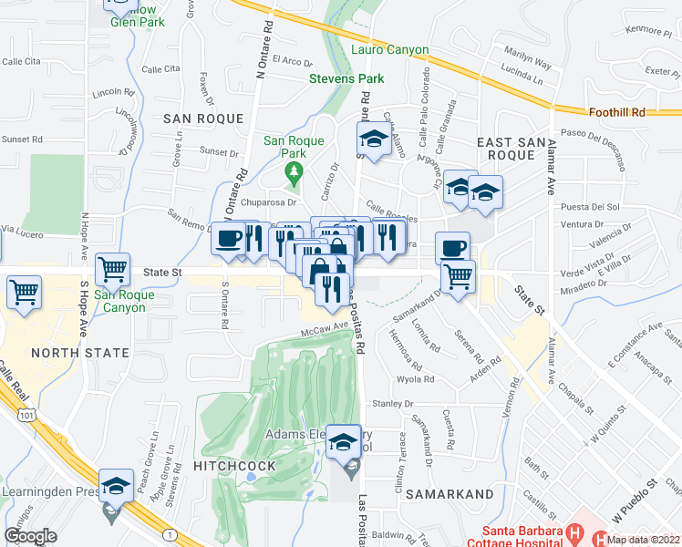 map of restaurants, bars, coffee shops, grocery stores, and more near 3317 State Street in Santa Barbara