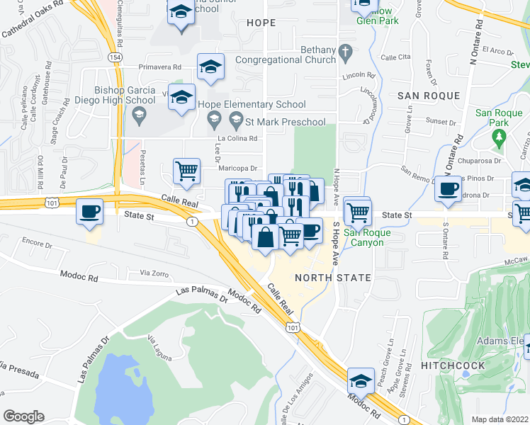 map of restaurants, bars, coffee shops, grocery stores, and more near State St & N La Cumbre Rd in Santa Barbara