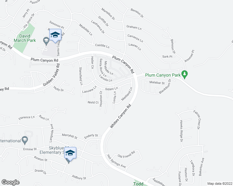 map of restaurants, bars, coffee shops, grocery stores, and more near 28342 Lorita Lane in Santa Clarita