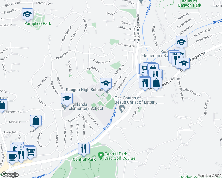 map of restaurants, bars, coffee shops, grocery stores, and more near 27547 Saffron Lane in Santa Clarita