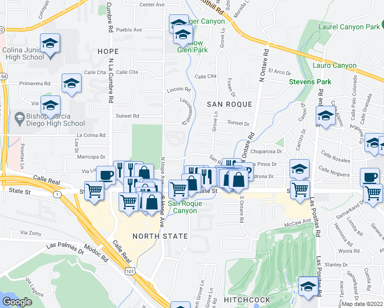 map of restaurants, bars, coffee shops, grocery stores, and more near 3740 San Remo Drive in Santa Barbara