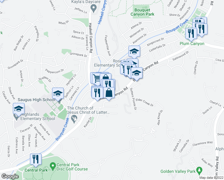 map of restaurants, bars, coffee shops, grocery stores, and more near 27612 Susan Beth Way in Santa Clarita