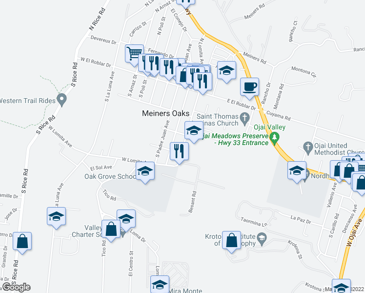 map of restaurants, bars, coffee shops, grocery stores, and more near 344-398 South Pueblo Avenue in Ojai