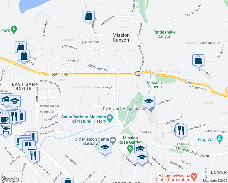 map of restaurants, bars, coffee shops, grocery stores, and more near 755 Mission Canyon Road in Santa Barbara