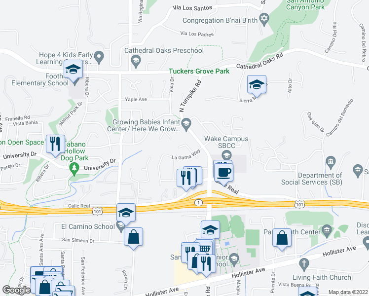map of restaurants, bars, coffee shops, grocery stores, and more near 475 Vaquero Lane in Santa Barbara