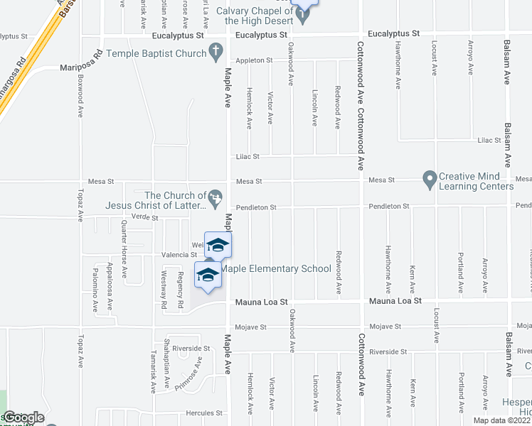 map of restaurants, bars, coffee shops, grocery stores, and more near 10814 Victor Avenue in Hesperia