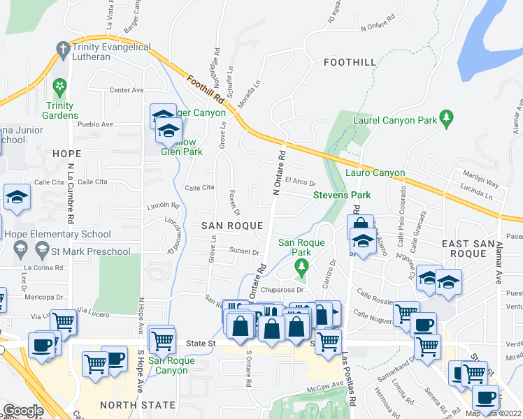map of restaurants, bars, coffee shops, grocery stores, and more near 3617 Rockcreek Road in Santa Barbara