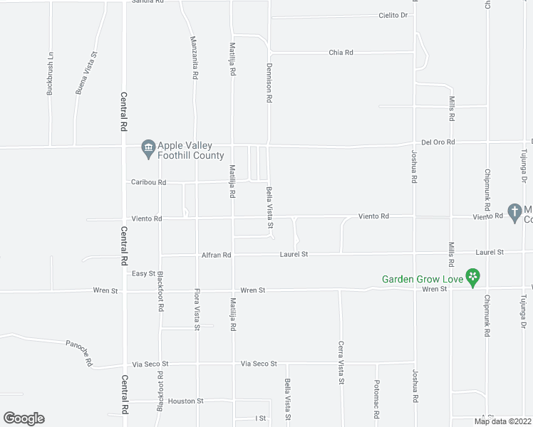 map of restaurants, bars, coffee shops, grocery stores, and more near 22880 Viento Road in Apple Valley