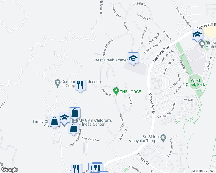 map of restaurants, bars, coffee shops, grocery stores, and more near Carbon Lane in Santa Clarita
