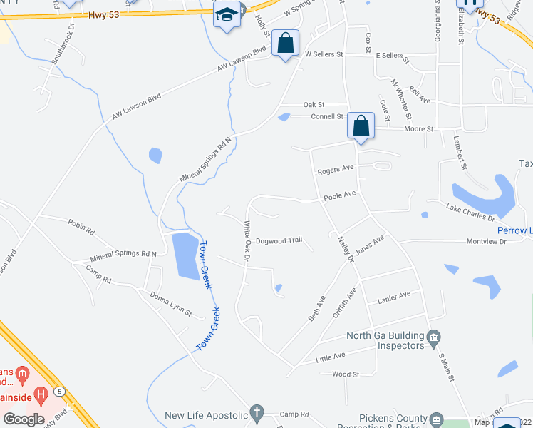 map of restaurants, bars, coffee shops, grocery stores, and more near 82 Red Oak Lane in Jasper