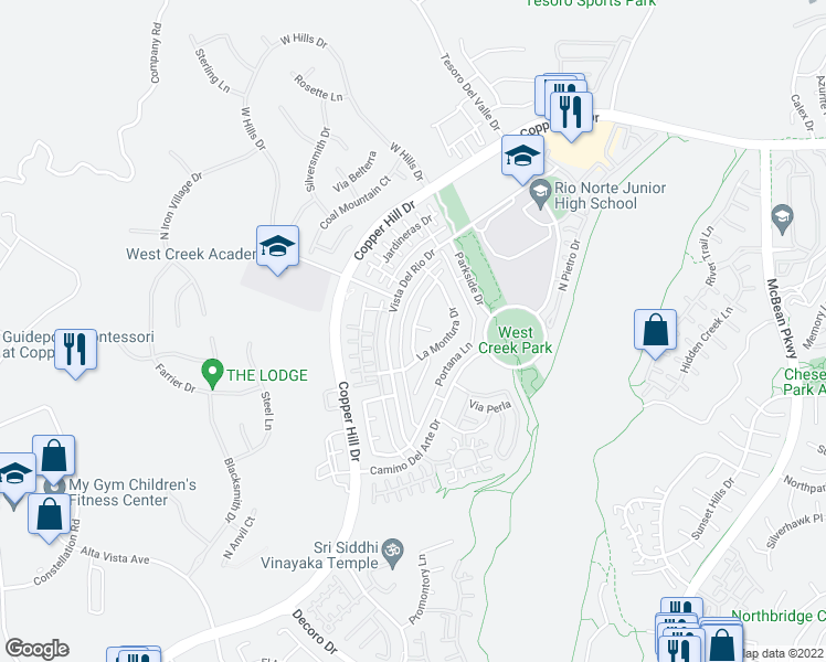 map of restaurants, bars, coffee shops, grocery stores, and more near 28565 Las Canastas Drive in Santa Clarita