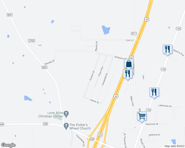 map of restaurants, bars, coffee shops, grocery stores, and more near Eunice Drive in Guntown