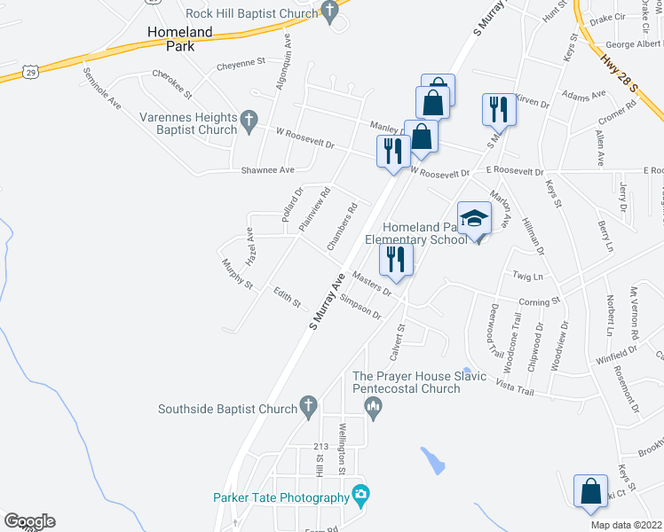 map of restaurants, bars, coffee shops, grocery stores, and more near 311 Masters Drive in Anderson