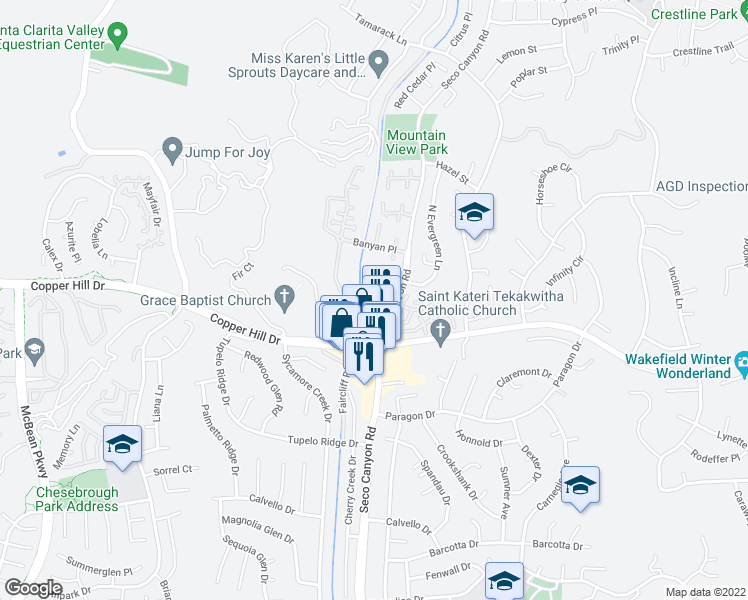 map of restaurants, bars, coffee shops, grocery stores, and more near 28151 Seco Canyon Road in Santa Clarita