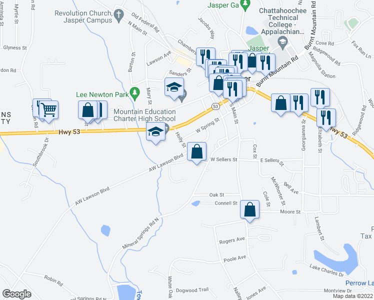 map of restaurants, bars, coffee shops, grocery stores, and more near H D Lee Road in Jasper