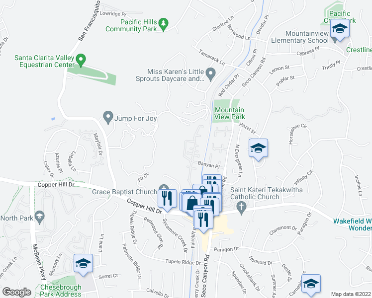 map of restaurants, bars, coffee shops, grocery stores, and more near 22941 Banyan Place in Santa Clarita