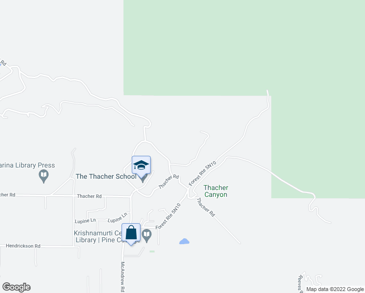 map of restaurants, bars, coffee shops, grocery stores, and more near 5025 Thacher Road in Ojai