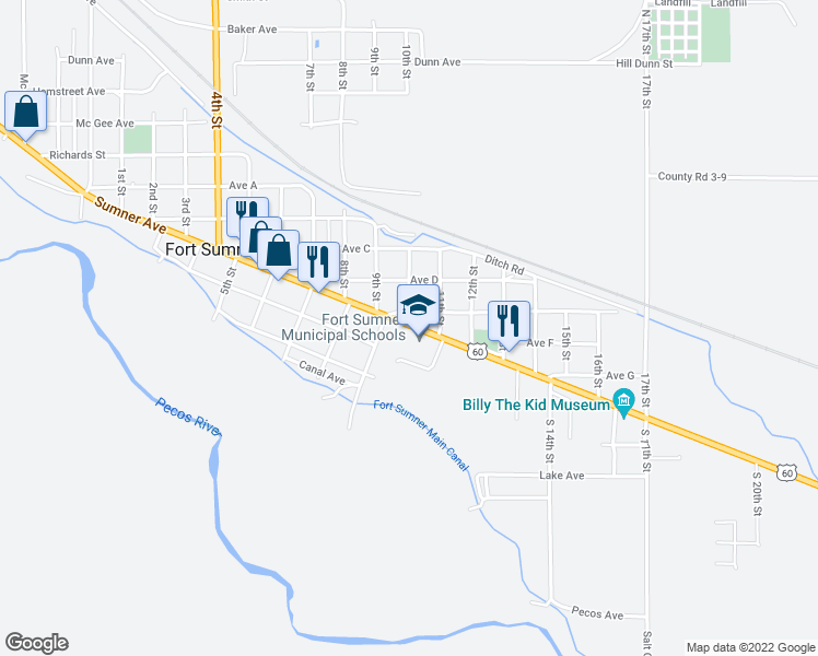 map of restaurants, bars, coffee shops, grocery stores, and more near 1037-1053 Highway 60 in Fort Sumner