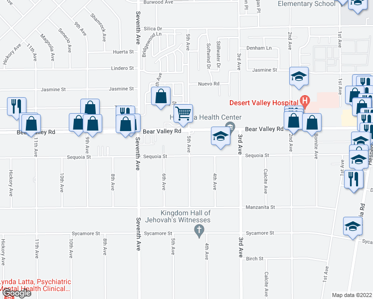 map of restaurants, bars, coffee shops, grocery stores, and more near 16280 Sequoia Street in Hesperia
