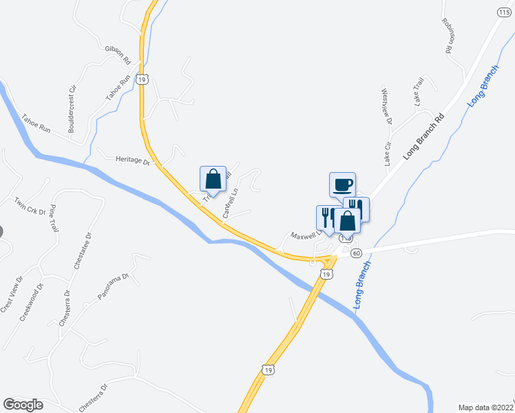 map of restaurants, bars, coffee shops, grocery stores, and more near 105 Sandhill Drive in Dahlonega