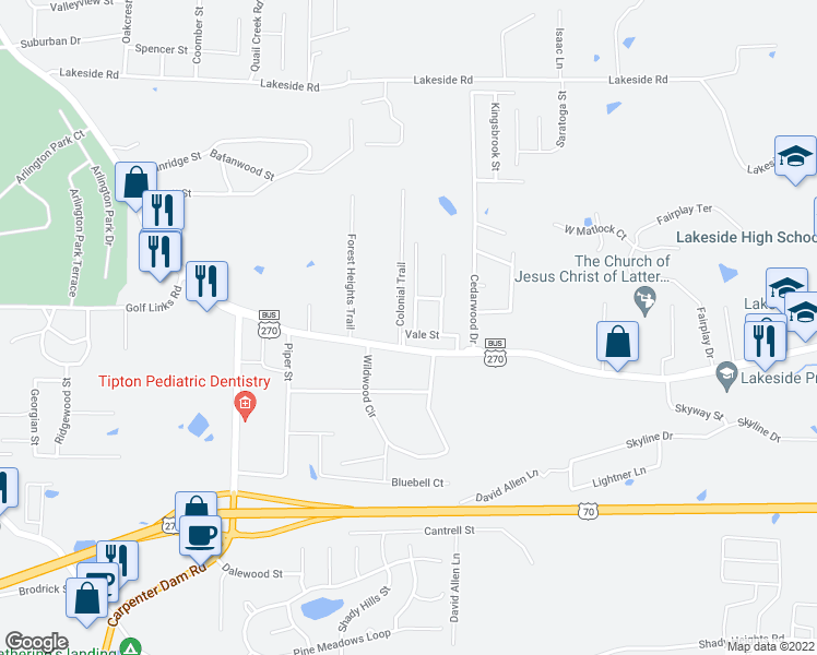 map of restaurants, bars, coffee shops, grocery stores, and more near 101 Hillsdale Terrace in Hot Springs