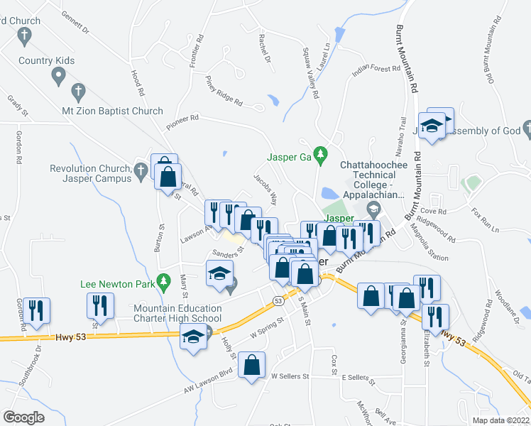 map of restaurants, bars, coffee shops, grocery stores, and more near 240 Jacobs Way in Jasper