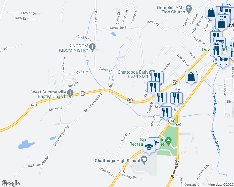 map of restaurants, bars, coffee shops, grocery stores, and more near 730-972 Highway 48 in Summerville