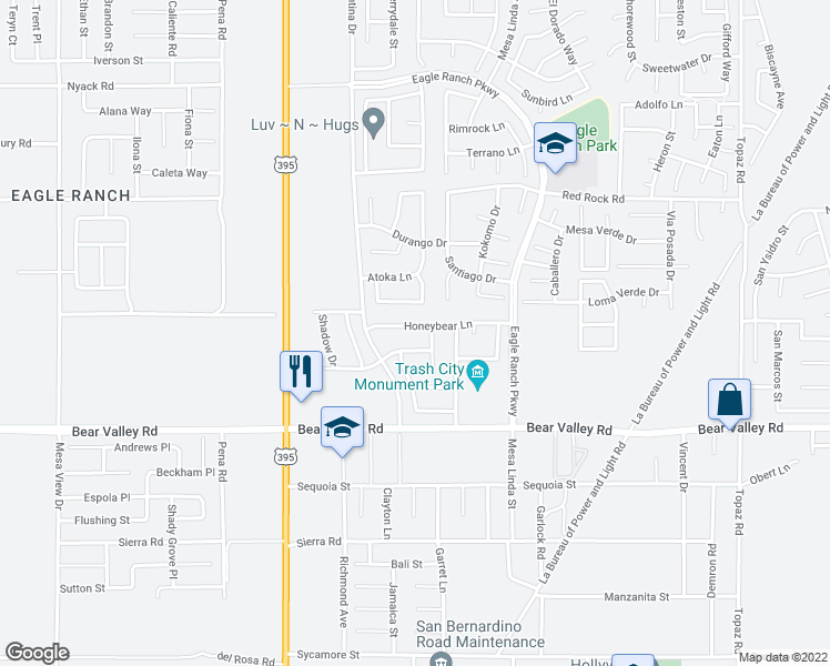 map of restaurants, bars, coffee shops, grocery stores, and more near 12323 Honey Bear Lane in Victorville