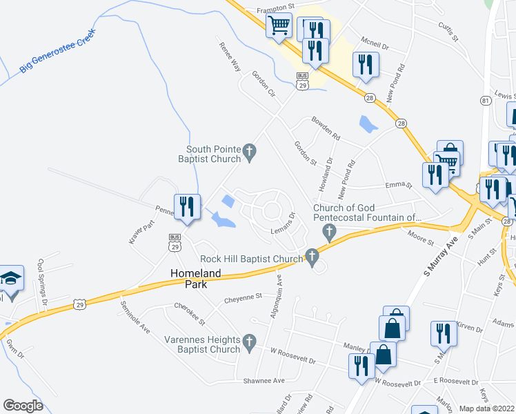 map of restaurants, bars, coffee shops, grocery stores, and more near 153 Lemans Drive in Anderson