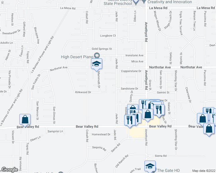 map of restaurants, bars, coffee shops, grocery stores, and more near 12369 Alpine Circle in Victorville