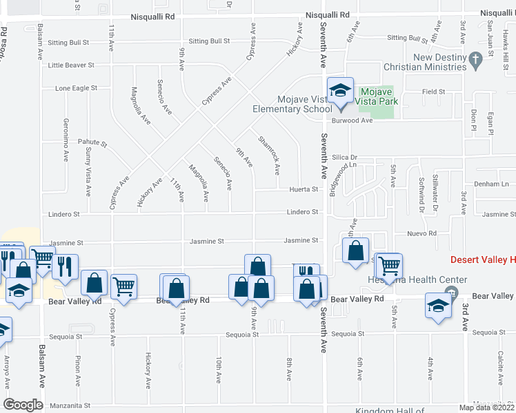 map of restaurants, bars, coffee shops, grocery stores, and more near 15910 Lindero Street in Victorville