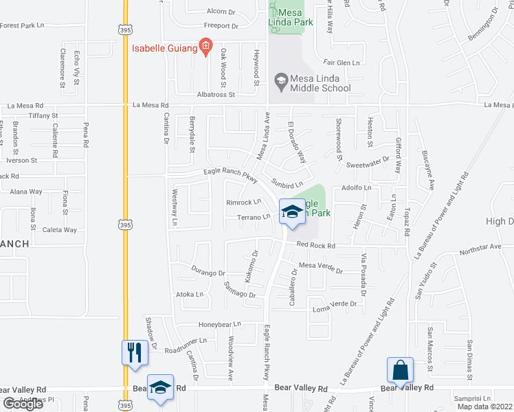 map of restaurants, bars, coffee shops, grocery stores, and more near 12473 Rimrock Lane in Victorville