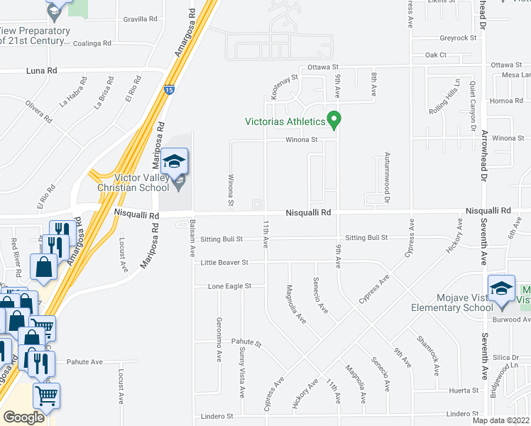map of restaurants, bars, coffee shops, grocery stores, and more near 11th Avenue & Nisqualli Road in Victorville