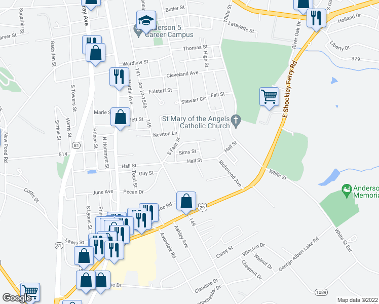 map of restaurants, bars, coffee shops, grocery stores, and more near Sims Street in Anderson