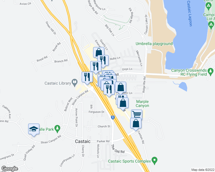 map of restaurants, bars, coffee shops, grocery stores, and more near 31744 Castaic Road in Castaic