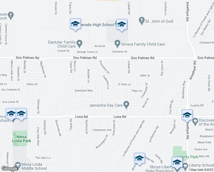 map of restaurants, bars, coffee shops, grocery stores, and more near 13157 Citrus Way in Victorville