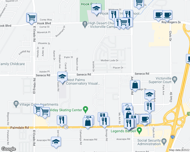 map of restaurants, bars, coffee shops, grocery stores, and more near 14959 Seneca Road in Victorville